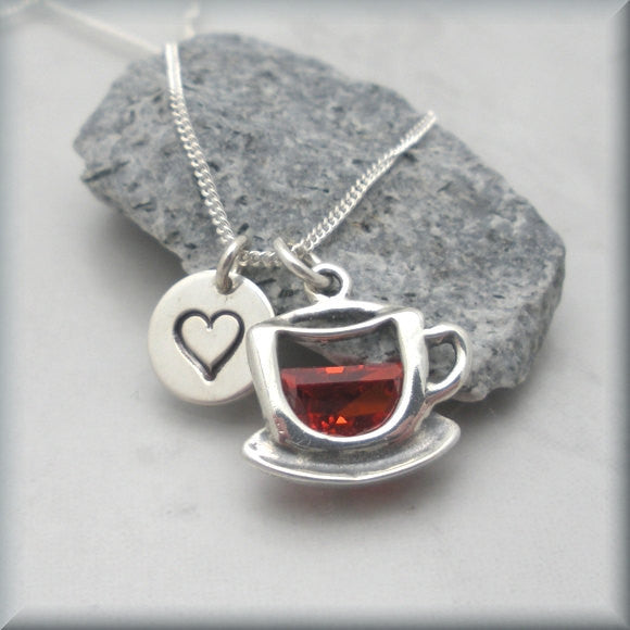 Coffee Lover Necklace - Tea Lover - Handstamped