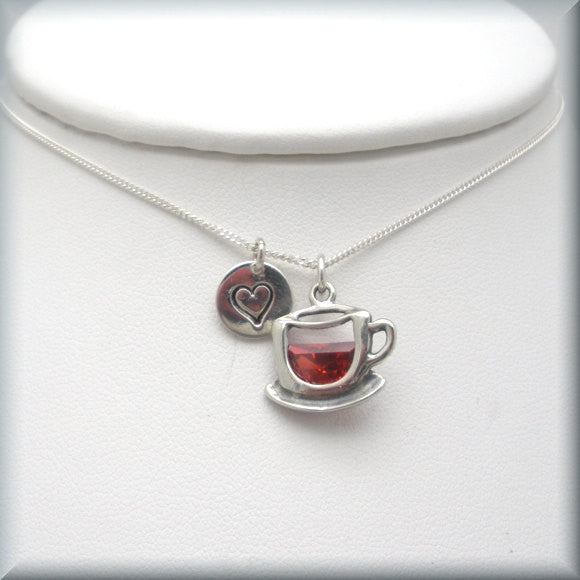 Coffee Lover Necklace - Tea Lover - Handstamped Bonny Jewelry