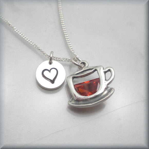 Coffee Lover Necklace - Tea Lover - Handstamped - Bonny Jewelry