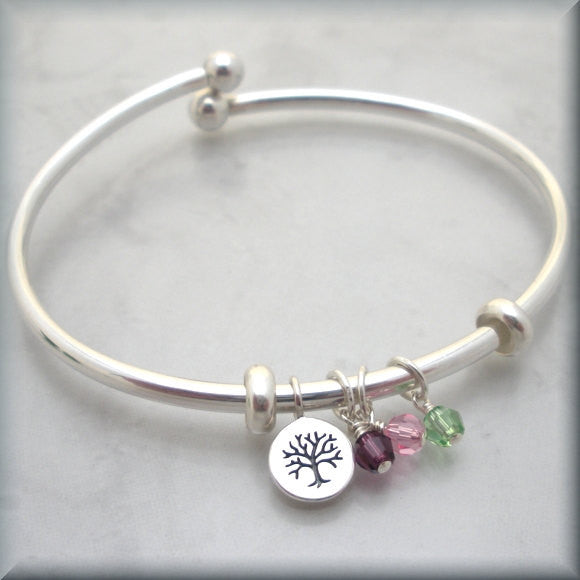 Mothers Birthstone Bangle - Family Tree of Life Bracelet