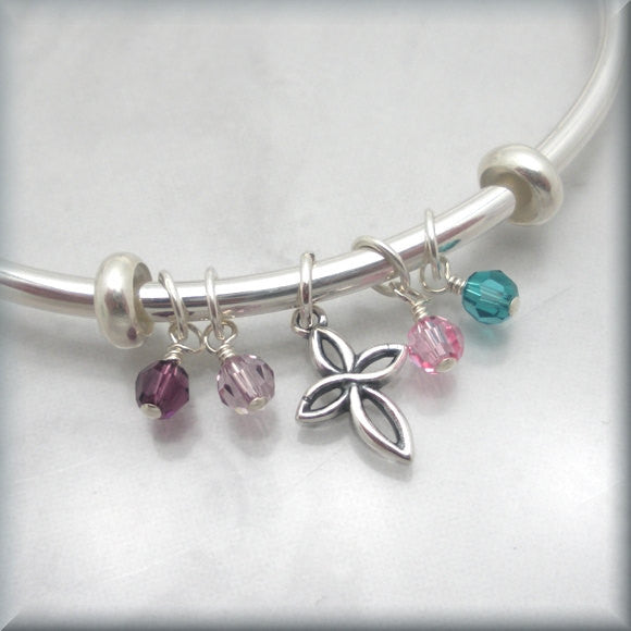 Filigree Cross Mothers Bangle Bracelet - Swarovski Crystal Birthstones - Bonny Jewelry