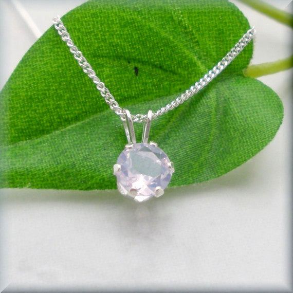 Lavender Quartz Necklace - Sterling Silver Solitaire Pendant - Bonny Jewelry