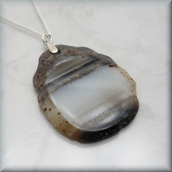 Brown Agate Slice Necklace - Gemstone Jewelry - Bonny Jewelry