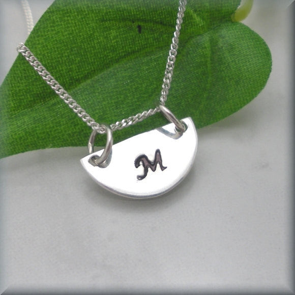 Half Circle Initial Necklace - Geometric Jewelry - Handstamped - Bonny Jewelry