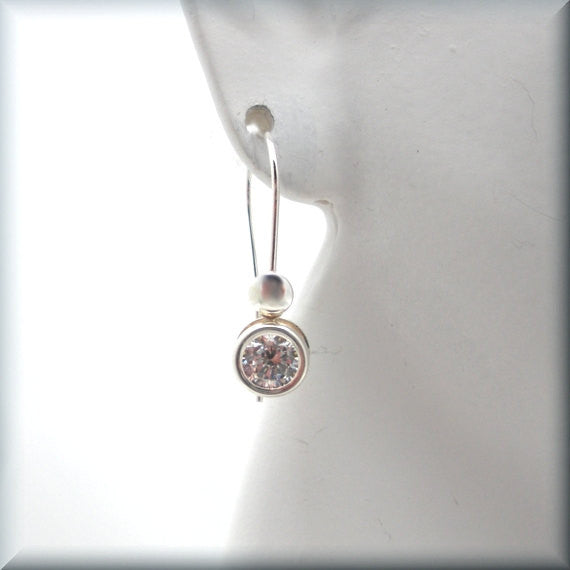 Cubic Zirconia Back Set Earring - April Birthstone - Bonny Jewelry
