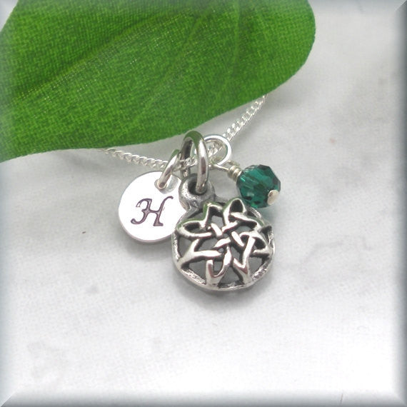 Round Domed Celtic Knot Necklace - Personalized - Birthstone Jewelry