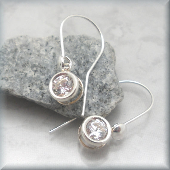 Cubic Zirconia Back Set Earring - April Birthstone