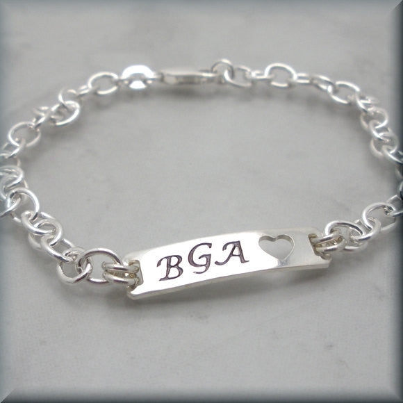 Personalized Initial ID Bracelet - Handstamped - Bonny Jewelry