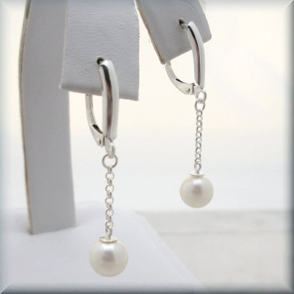 White Cultured Pearl Drop Earrings - June Birthstone - Bonny Jewelry