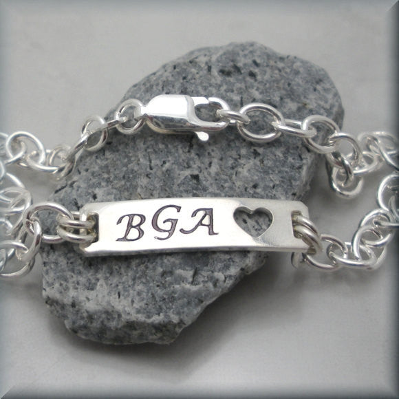 Personalized Initial ID Bracelet - Handstamped