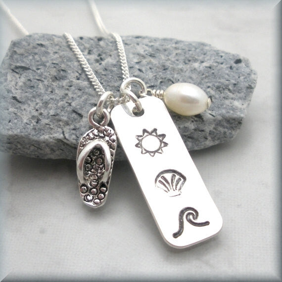 Sun Sand Sea Beach Necklace - Handstamped - Bonny Jewelry