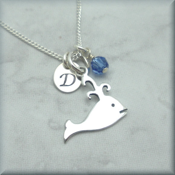 Spouting Whale Birthstone Necklace - Personalized Beach Jewelry - Bonny Jewelry