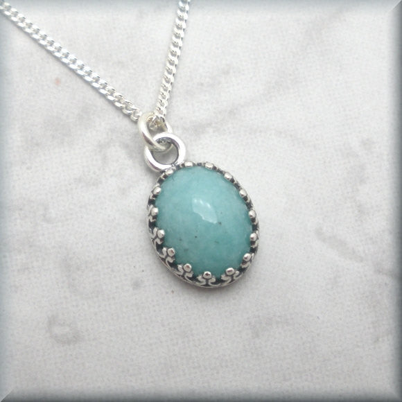 Amazonite Cabochon Gemstone Necklace Bonny Jewelry