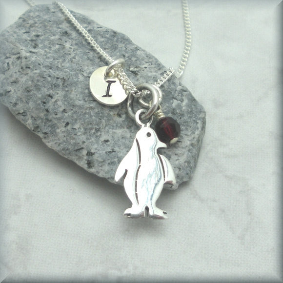 Penguin Birthstone Necklace - Personalized - Handstamped - Bonny Jewelry
