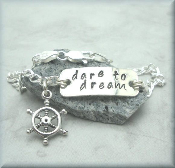 Dare to Dream Bracelet - Inspirational Jewelry - Handstamped