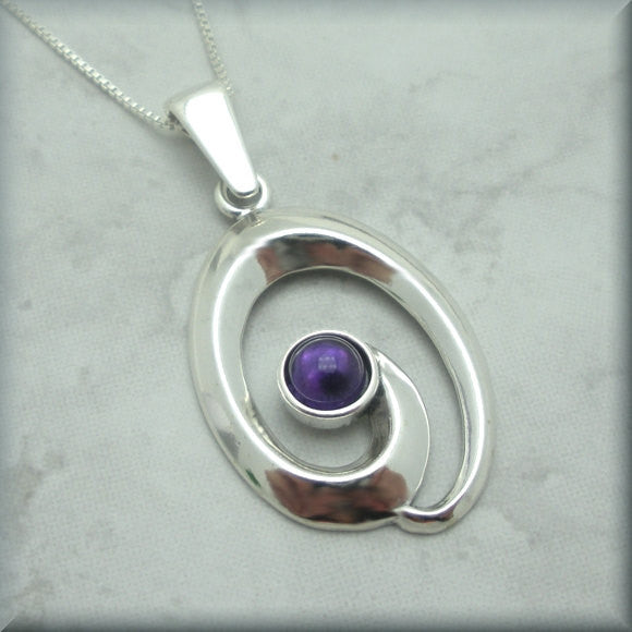 Amethyst Cabochon Gemstone Swirl Necklace - February Birthstone - Bonny Jewelry