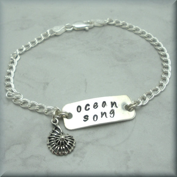 Ocean Song Bracelet - Beach Jewelry - Handstamped - Bonny Jewelry