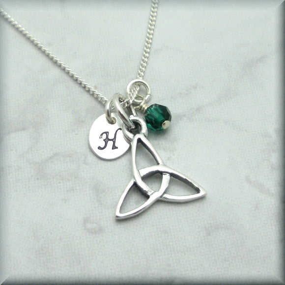 Trinity Knot Birthstone Necklace - Triquetra Personalized Jewelry