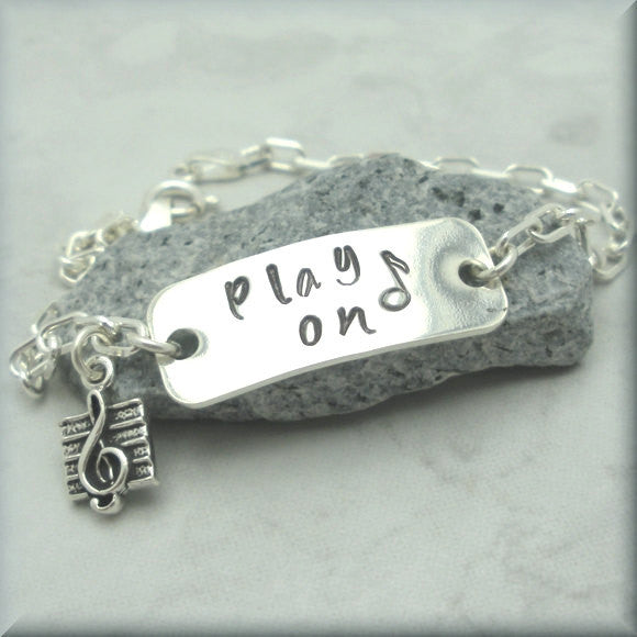 Play On Music Bracelet - Inspirational Jewelry - Handstamped
