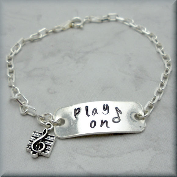 Play On Music Bracelet - Inspirational Jewelry - Handstamped - Bonny Jewelry