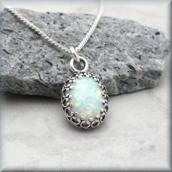 White Opal Oval Necklace - October Birthstone - Bonny Jewelry