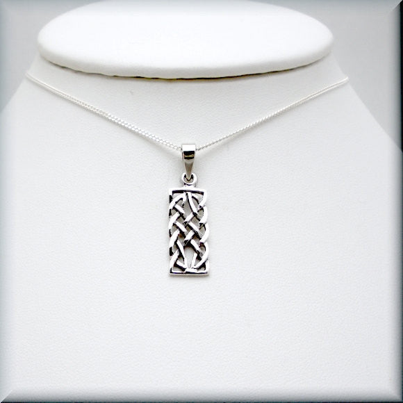 Rectangle Celtic Knot Necklace - Celtic Knotwork - Bonny Jewelry