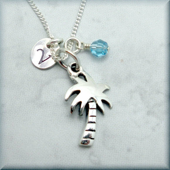 Palm Tree Birthstone Necklace - Personalized Beach Jewelry - Bonny Jewelry