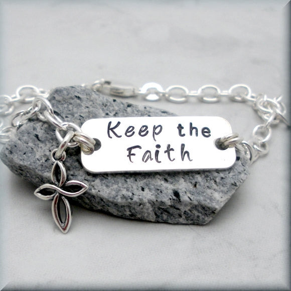 Keep the Faith Bracelet - Inspirational Jewelry - Handstamped