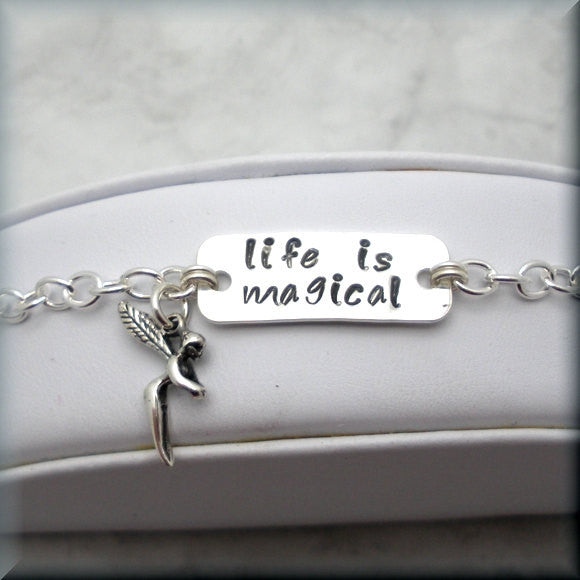Life is Magical Fairy Bracelet - Handstamped - Inspirational - Bonny Jewelry