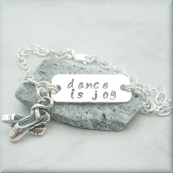 Ballerina Love to Dance Bracelet - Inspirational Jewelry - Handstamped