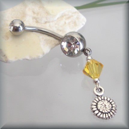 Sunflower Charm Belly Ring - Topaz Swarovski Crystal Accent