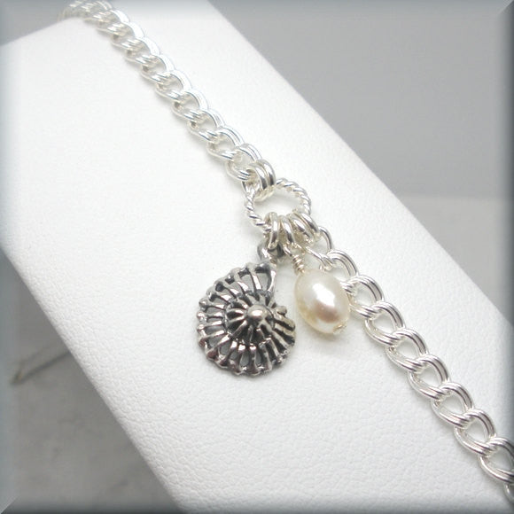 Nautilus Shell Bracelet with Pearl Accent - Bonny Jewelry