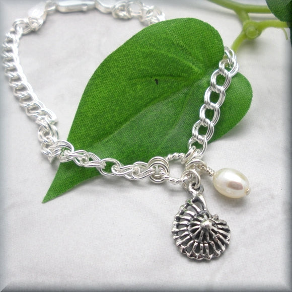 Nautilus Shell Bracelet with Pearl Accent