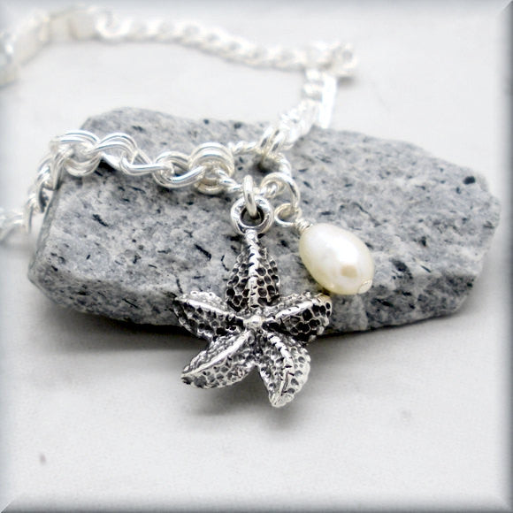 Sea Star Starfish Bracelet with Pearl Accent - Beach Jewelry