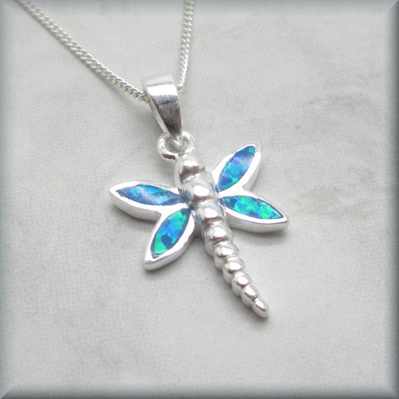 Blue Opal Dragonfly Necklace - Summer Jewelry - Bonny Jewelry