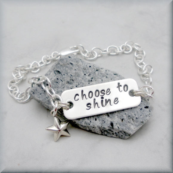 Choose to Shine Star Bracelet - Inspirational Bracelet - Handstamped
