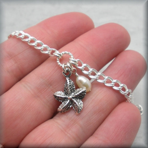Sea Star Starfish Bracelet with Pearl Accent - Beach Jewelry - Bonny Jewelry