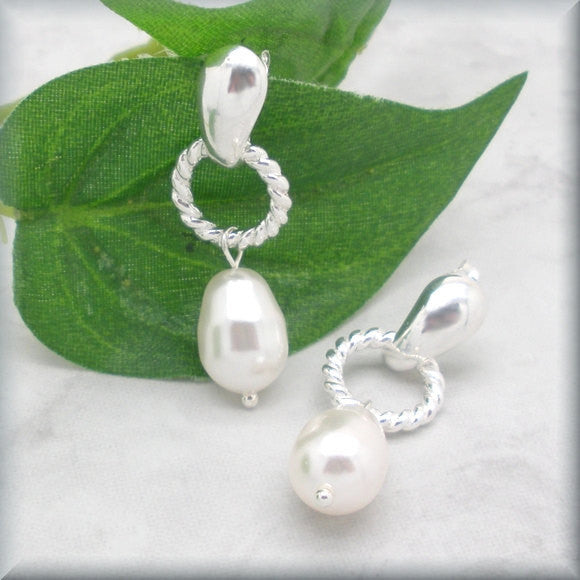 Twisted Wire White Pearl Earrings - June Birthstone - Bonny Jewelry