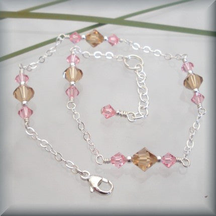 "Light Rose and Light Colorado Topaz Swarovski Crystal Anklet Fits 9""-10"" - Bonny Jewelry"