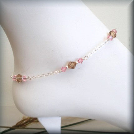 Light Rose and Light Colorado Topaz Swarovski Crystal Anklet Bonny Jewelry
