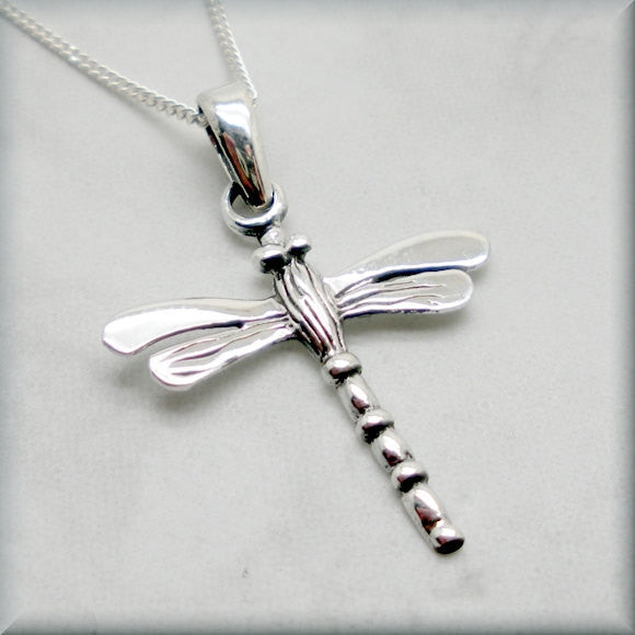 Silver Dragonfly Necklace - Summer Jewelry - Bonny Jewelry
