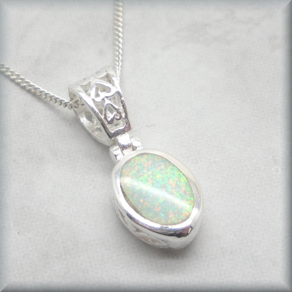 White Opal Filigree Necklace - October Birthstone Jewelry - Bonny Jewelry