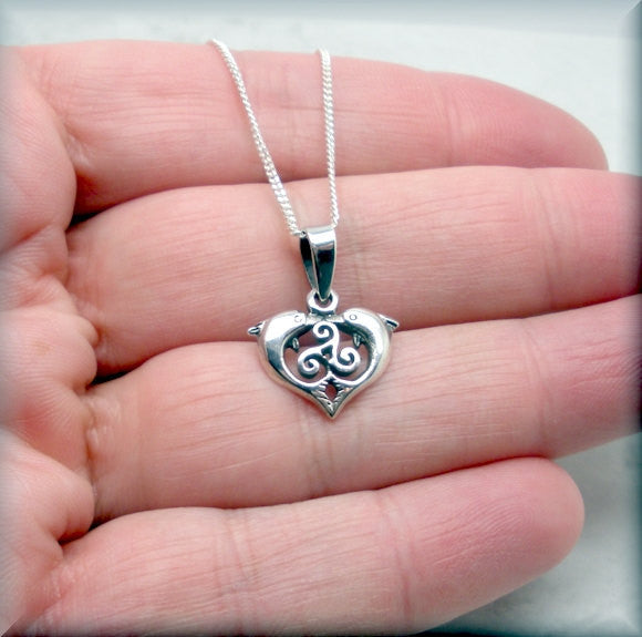 Celtic Triskele Knot Dolphin Necklace - Triskilion - Bonny Jewelry
