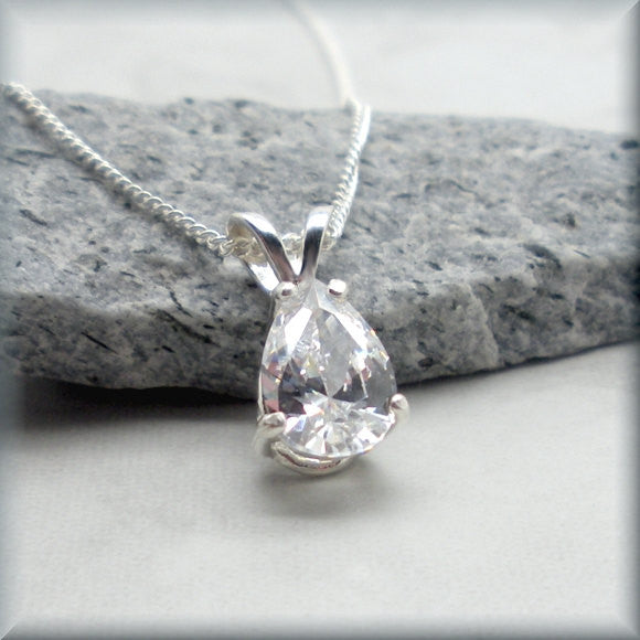 Teardrop Cubic Zirconia Necklace - April Birthstone - Faux Diamond - Bonny Jewelry