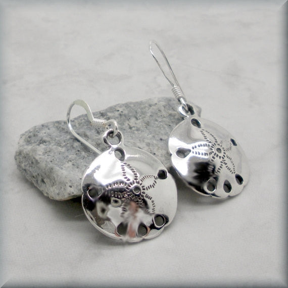 Sand Dollar Sterling Silver Beach Earrings