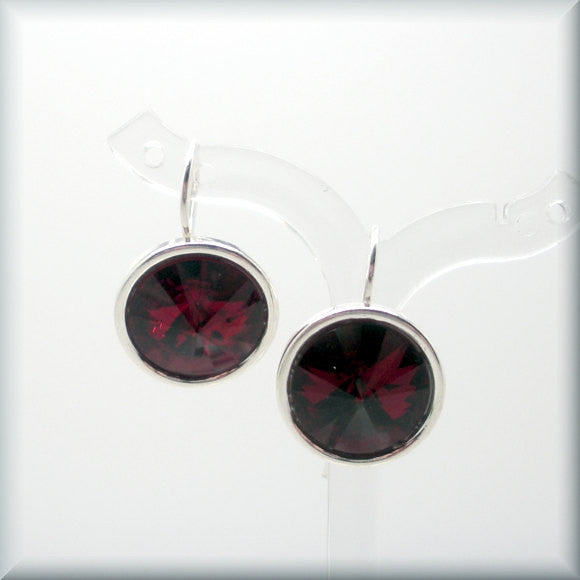 Siam Swarovski Crystal Rivoli Earrings - January Birthstone - Bonny Jewelry
