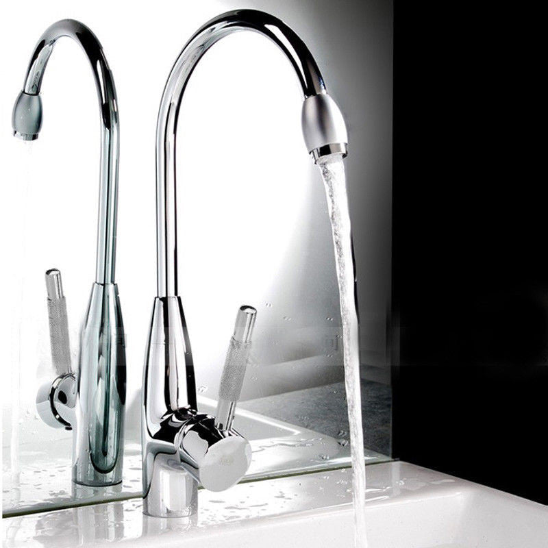 Chrome Hot/Cold Two Hole Mixer Sink Water Tap Basin Kitchen Wash Handle Faucet - Kitchen Faucet Web