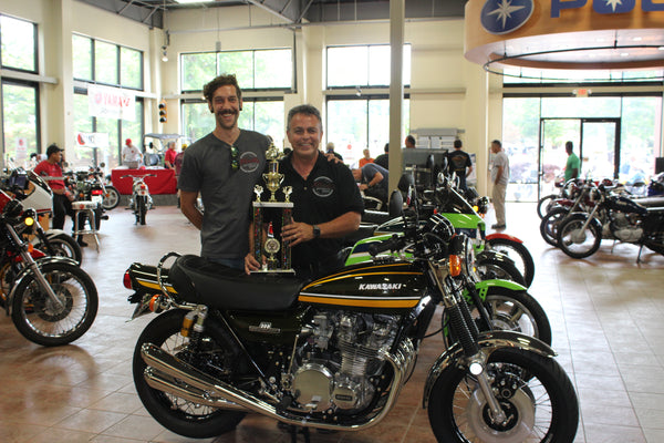 VJMC Best of Show Kennesaw Georgia - Atlanta Motorcycle Works - 2017 - 1974 Kawasaki Z1 900 Restoration - Green and Yellow - Ohlins - Sunrims - Original - Pingel -