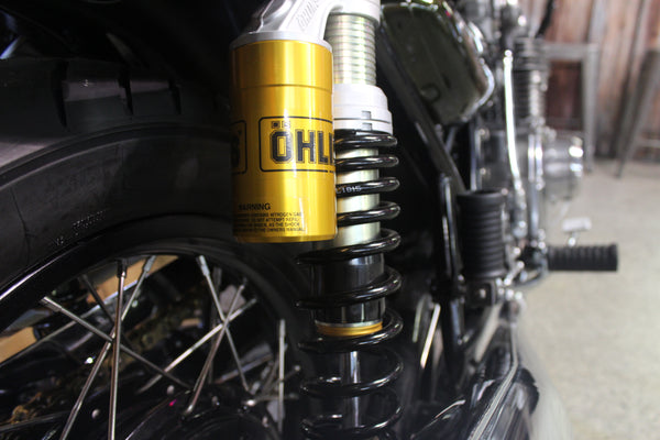 Ohlins Shocks - 1974 Kawasaki Z1 900 - Full Restoration - Green and Yellow - Atlanta Motorcycle Works - Vintage Motorcycle Repair and Restoration - Woodstock Georgia