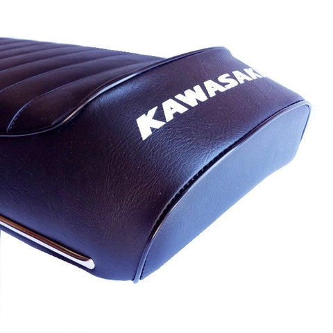 Kawasaki 1972 H1 500 - Black Ribbed Seat - Atlanta Motorcycle Works Vintage Replacement Parts